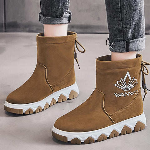 Suede solid printed thick winter boots