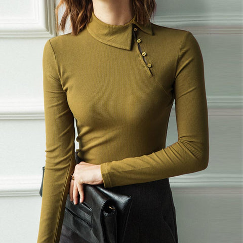Turn down collar solid tight knit tops