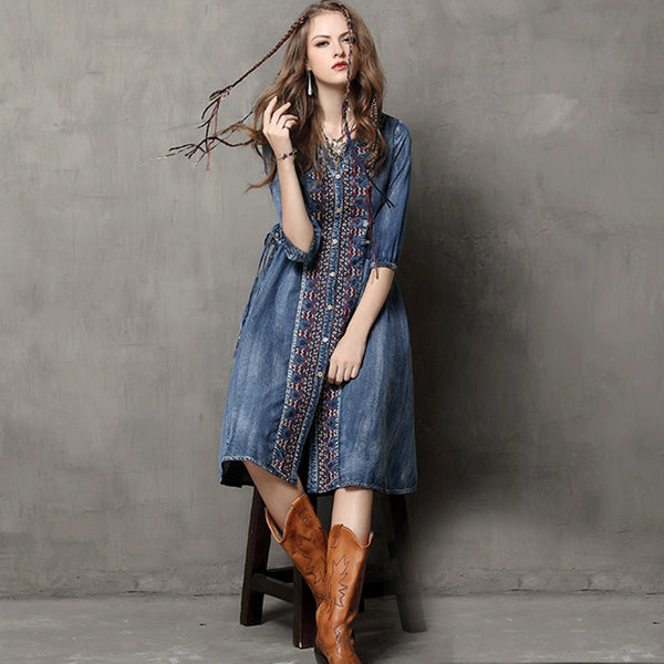 Denim embroidery single-breasted dresses - Fancyever