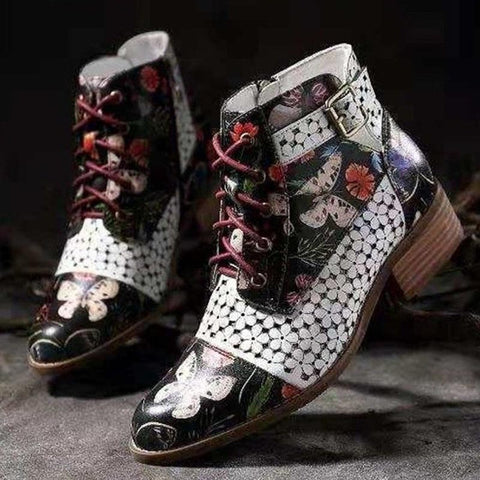 Mandarin vintage lace-up ankle boots