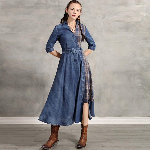 Plaid patchwork belted denim maxi dresses - Fancyever