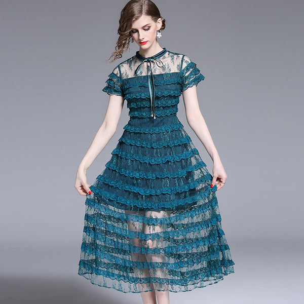 Stylish transparent layered evening dress-Fancyever