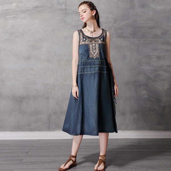 Retro embroidered sleeveless denim dresses - Fancyever