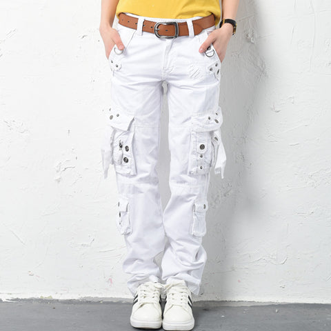 White cotton cargo pants