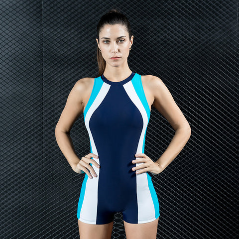 Color-blocked elastic one piece swimwear