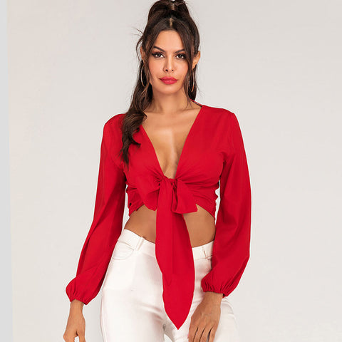 Plus size deep v-neck backless bowknot crop tops