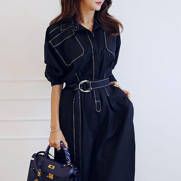 Elegant turn down collar belted split dresses