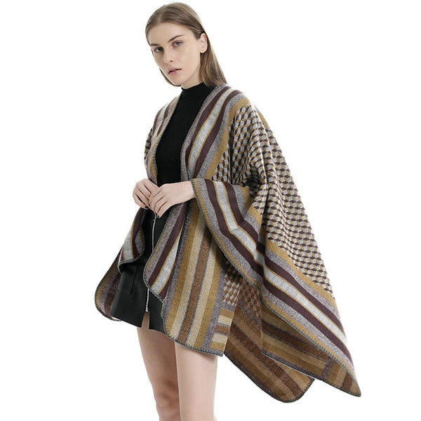Striped printed multi color blanket scarves shawls