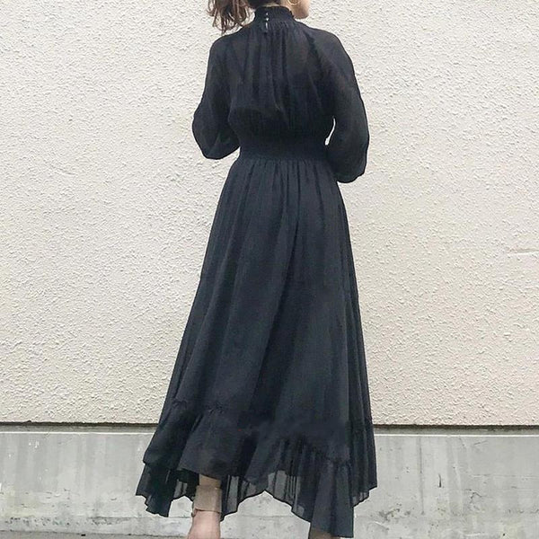 Big hem solid ruffled vintage maxi dresses