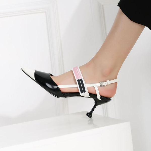 Pointed toe flared heel hit color sandals