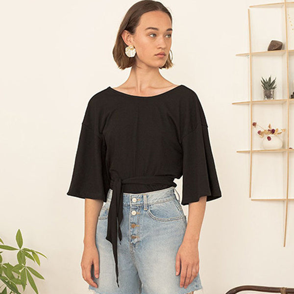Cut out tie back bell sleeve tees