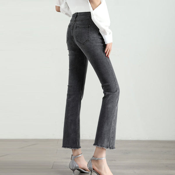 Plus size high waisted rough selvedge ankle jeans