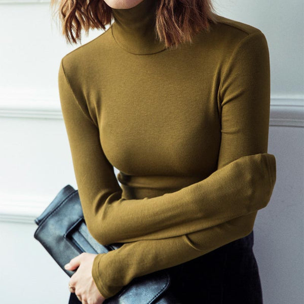 Long sleeve turtleneck solid soft basic knit tops