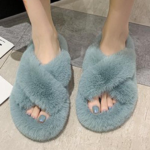 Solid open toe fur slippers