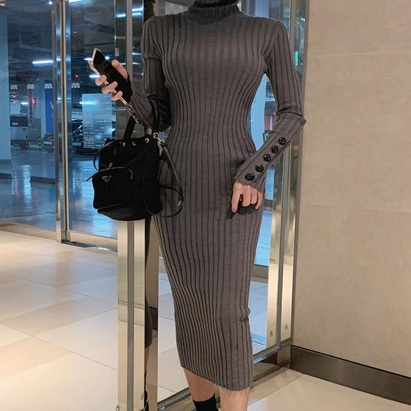 Turtleneck solid basic knitted bodycon dresses