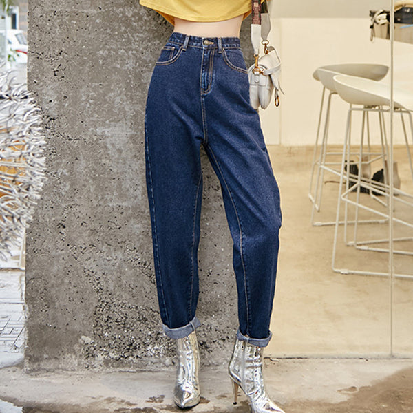 High waisted denim jean pants - Fancyever