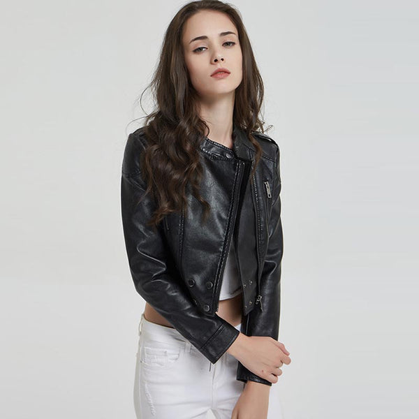 Mock neck cropped moto jackets