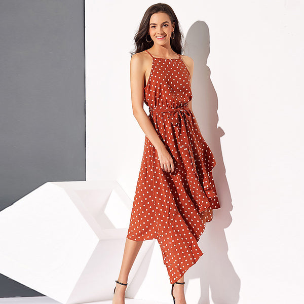 Cute dot print irregular hem halter dresses - Fancyever