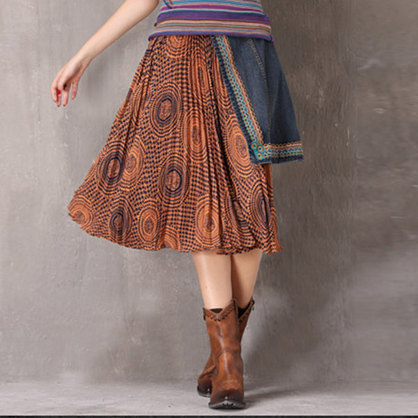 Pleated openwork asymmetric skirt - Fancyever
