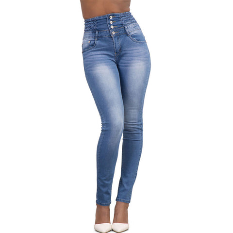High waisted stretchy button skinny denim jeans