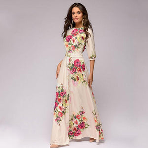Floral belted bowknot maxi dresses