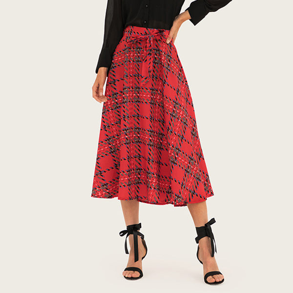 Red plaid belt skirts - Fancyever