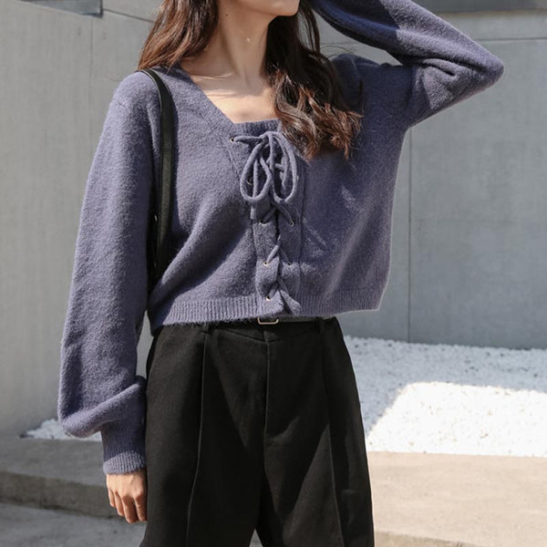 Lantern sleeve lace up pullover sweaters