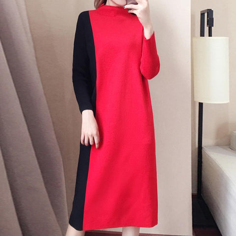 Half-colalr color-blocked fitted shift sweater dresses