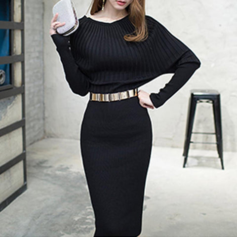 Off-the-shoulder long sleeve knitted dresses