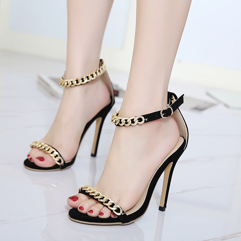 Black metal buckle ankle-strap sandals