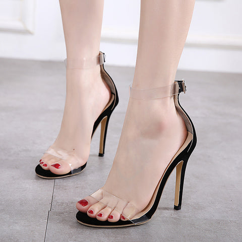Pointed toe transparent ankle strap sandals