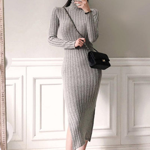 Turtleneck striped solid slim midi bodycon dresses