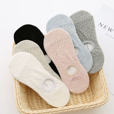 5 pairs cushioned invisible liner socks