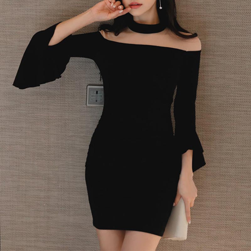 Open shoulder flare sleeve solid mini bodycon dresses