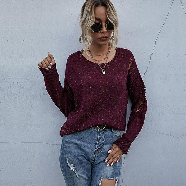 Pullover solid loose ripped sweater