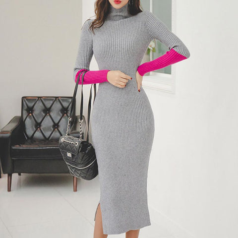 Hit color long sleeve sheath sweater dresses