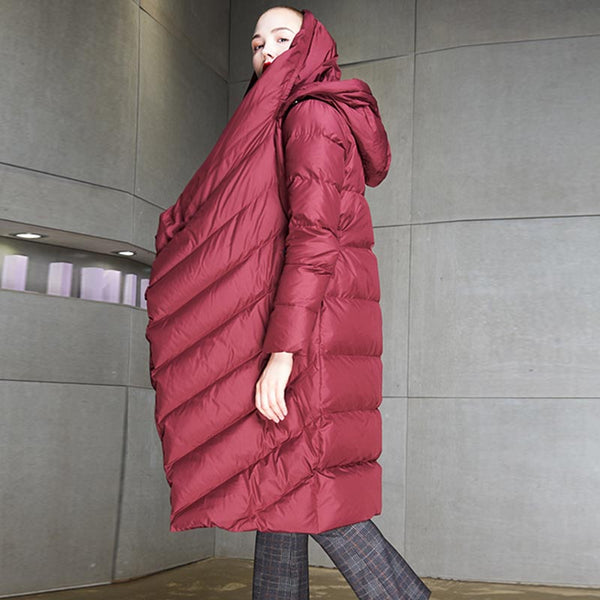 Buttoned asymmetric hooded down coats