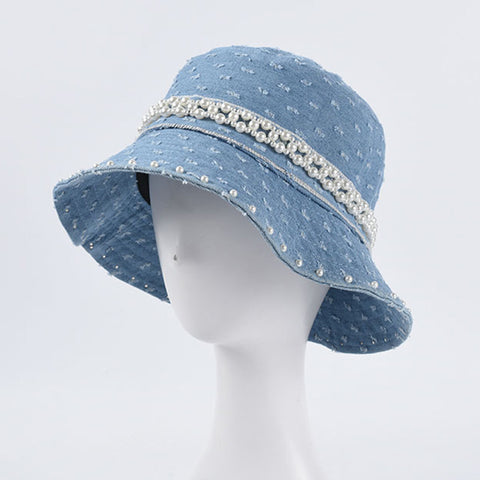 French retro pearl bucket hats