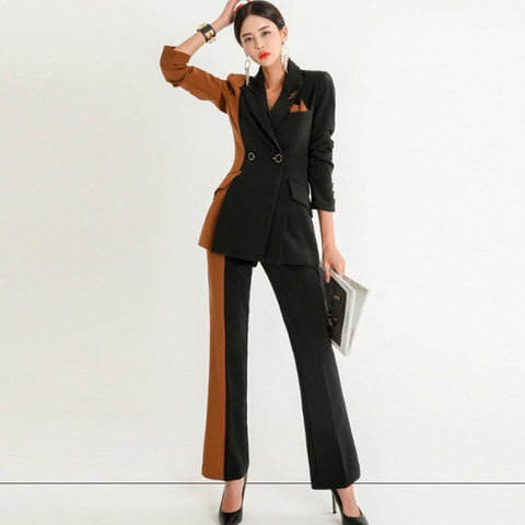 Color block patchwork belted pant suits