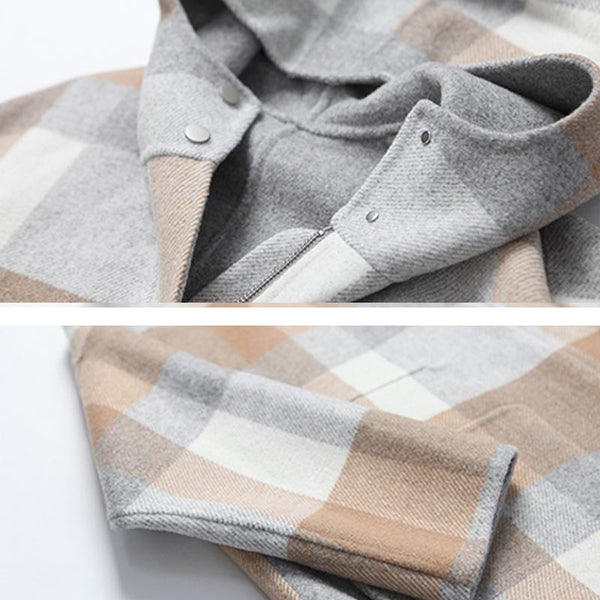 Hooded tweed short coats with pockets