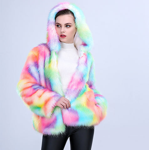Hooded multicolor faux fur coats - Fancyever