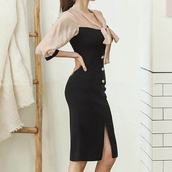 Tie-collar bowknot patchwork bodycon dresses