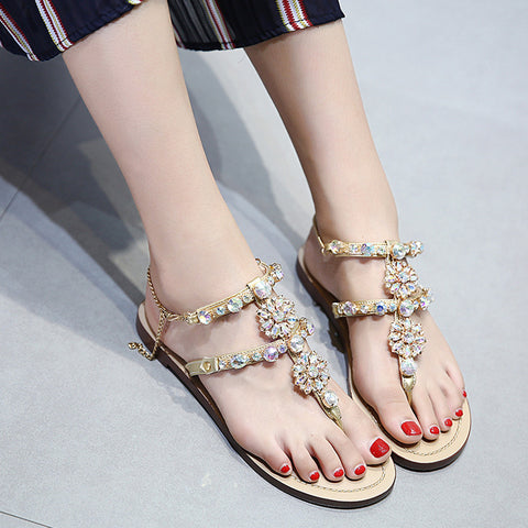 Thong beaded ankle-strap flat sandles