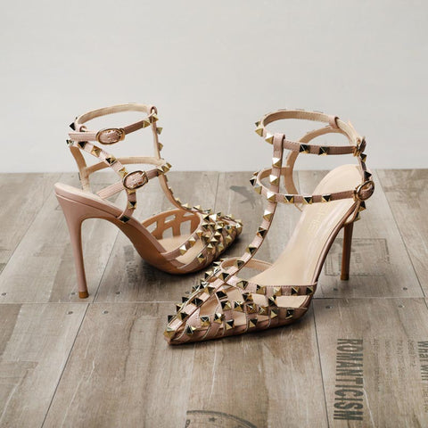 Pointed toe openwork rivet ankle-tied sandals