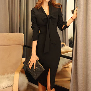 Long sleeve tie front black bodycon dresses