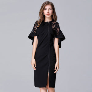 Elegant lace split zipper plus size dresses - Fancyever