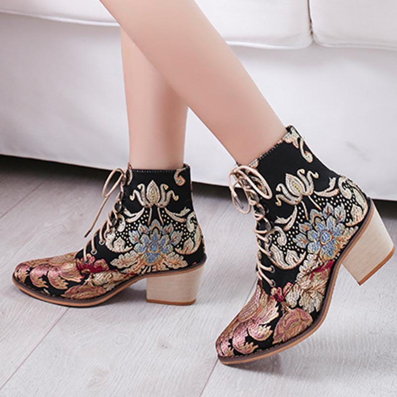 Embroidered lace-up mid heel ankle boots