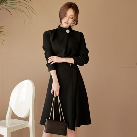 Mock neck wrap office black dresses - Fancyever