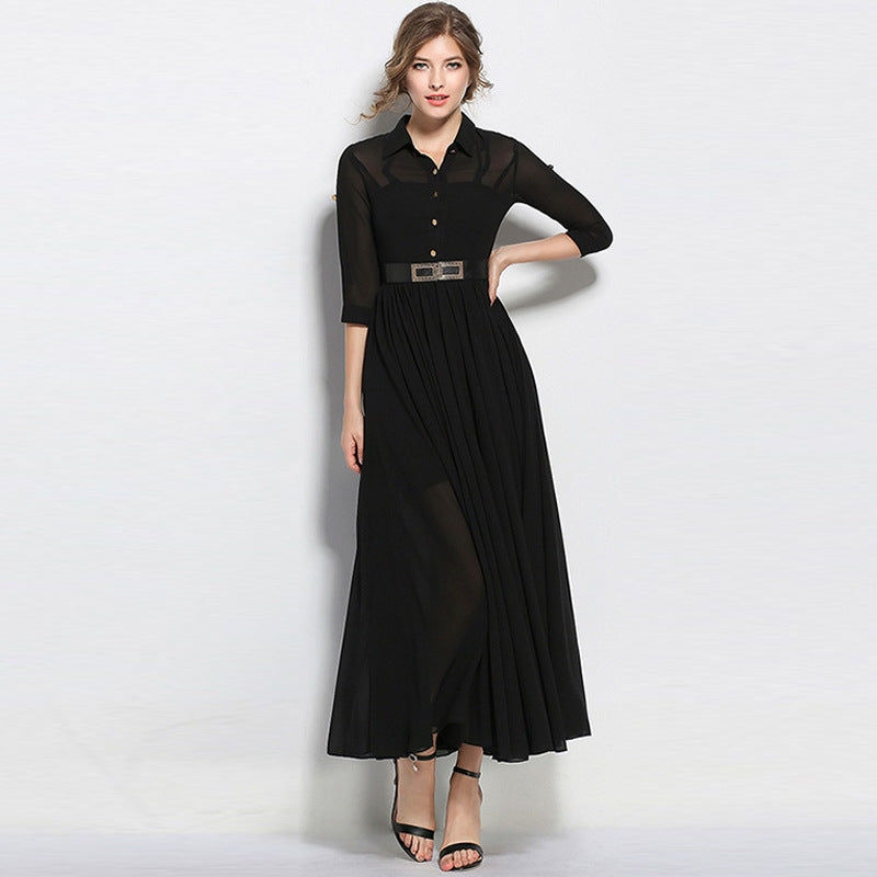 Black 3/4 sleeve big hem maxi dresses - Fancyever