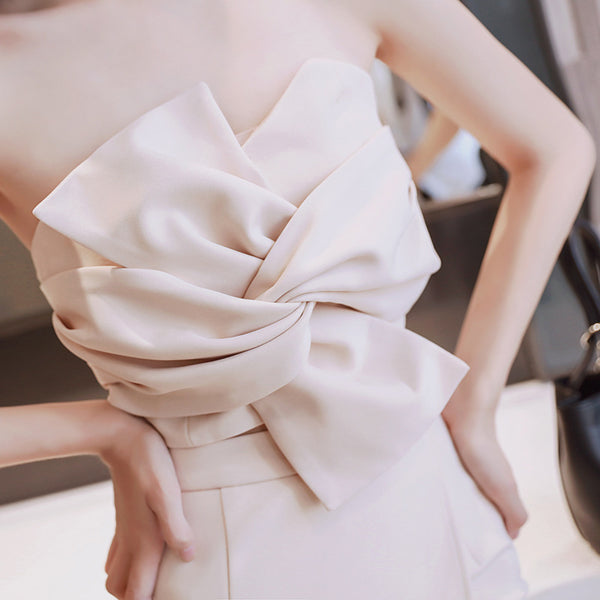 Strapless bowknot skirt suits